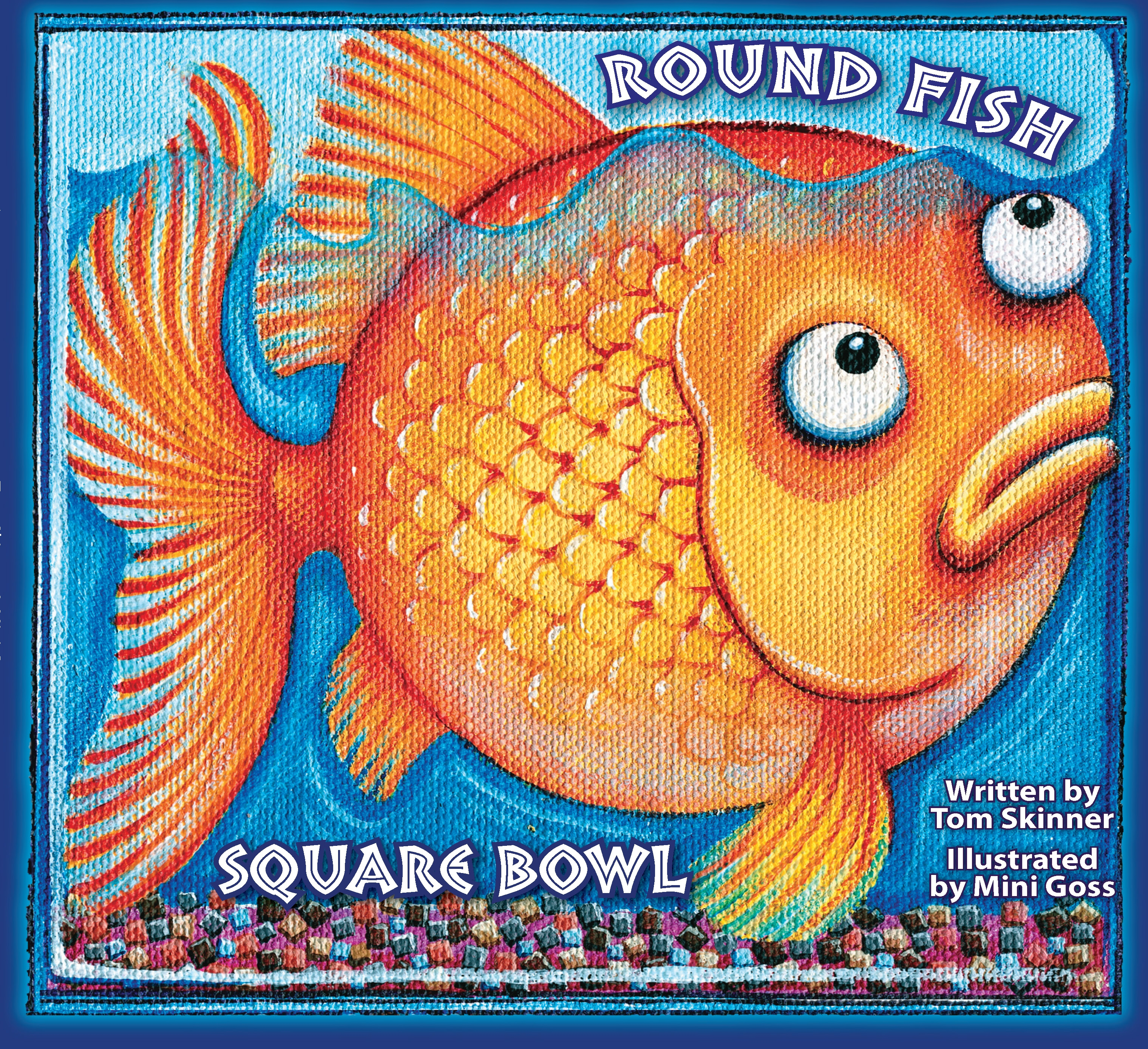Round fish square bowl for Book with fish bowl on cover